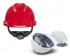 Capacete com suspensão modelo FasTrac ou Push Key eletricista MSA CA498 nas cores amarelo, azul branco, cinza, laranja, marrom, verde, vermelho