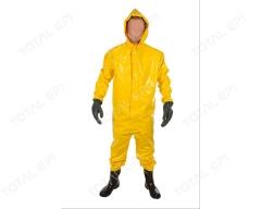 Macacão de PVC para saneamento com botas, capuz e mangas CA17620 amarela vários tamanhos