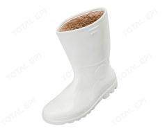 Bota de PVC com forro de lã na cor branca