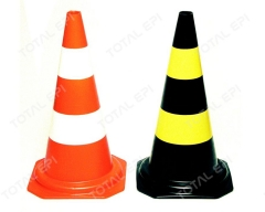Cone de PVC 50 ou 75cm nas cores laranja e branco ou preto e amarelo