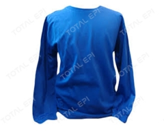 Camisa de malha manga longa nas cores cinza e azul royal