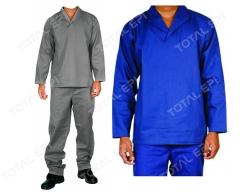 Conjunto de brim manga longa nas cores cinza e azul royal